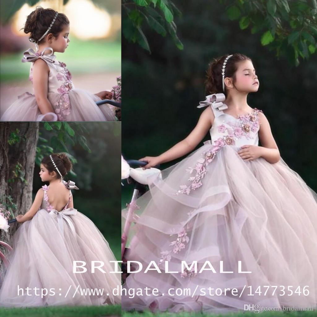 67ebbd2ebe31 Puffy Pink Backless Ball Gown Flower Girl Dresses For Wedding Beaded Tiered  Toddler Pageant Gowns Tulle Appliqued Little Kids Prom Dress Dresses For  Girl ...