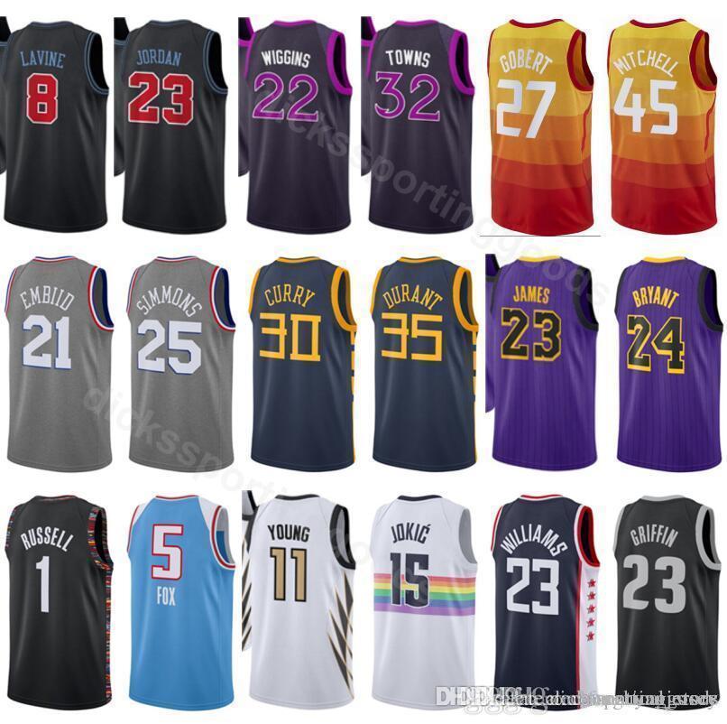 promo code bcbbb 22410 College 2019 City Edition 27 Rudy Gobert Jersey Basketball 45 Donovan  Mitchell 8 Zach LaVine 23 Michael 32 Karl Anthony Towns Andrew Wiggins