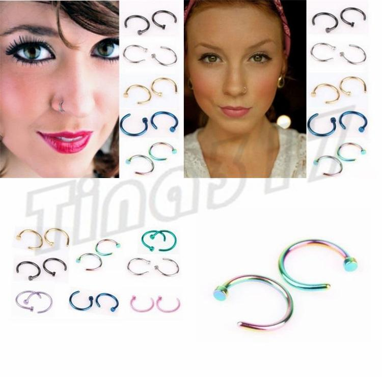 081927e2dac 2019 New Nose Rings Body Piercing Jewelry Fashion Jewelry Stainless Steel  Nose Hoop Ring Earring Studs Fake Nose Rings Non Piercing Rings 2937 From  Andyt168 ...