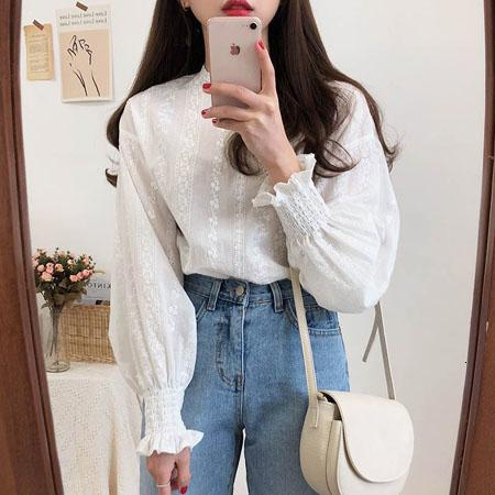 Embroidery Lace Shirt Spring femme Casual white Tops Women Long sleeve Linen Cotton Girls Blouse Plus Size Women Blouses femme SH190907