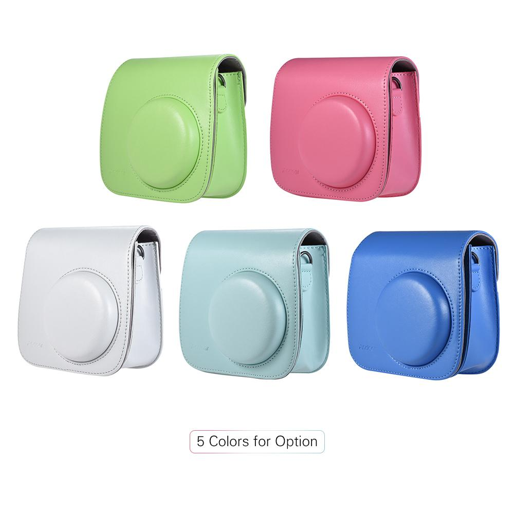 camera bag case Andoer PU Instant Camera Bag Case with Strap for Fujifilm Instax Mini 8/9/8+ Flamingo Pink/Blue/White/Green