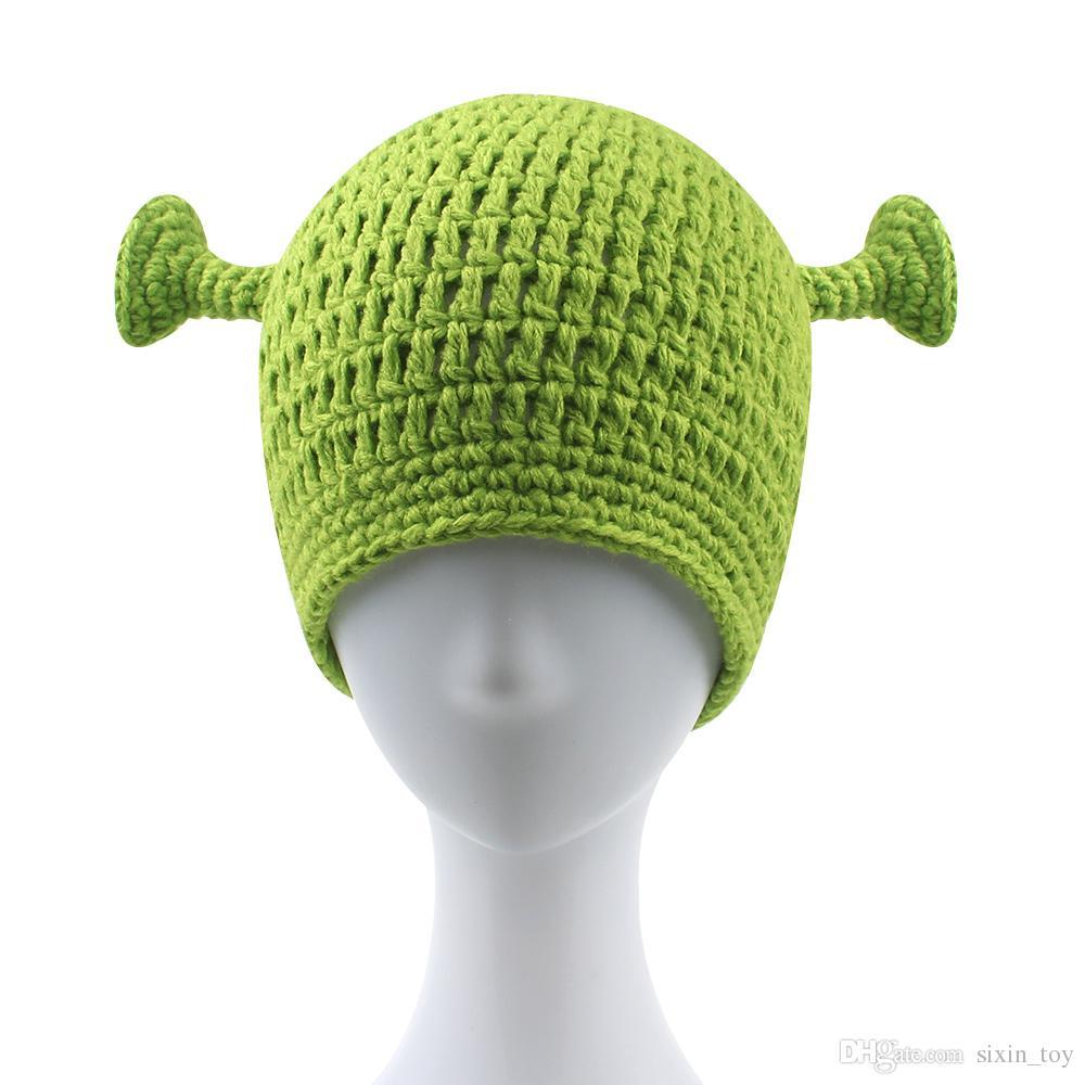 144dfe38255 2019 Green Monster Shrek Unisex Wool Cap Creative Funny Knitted Hat ...