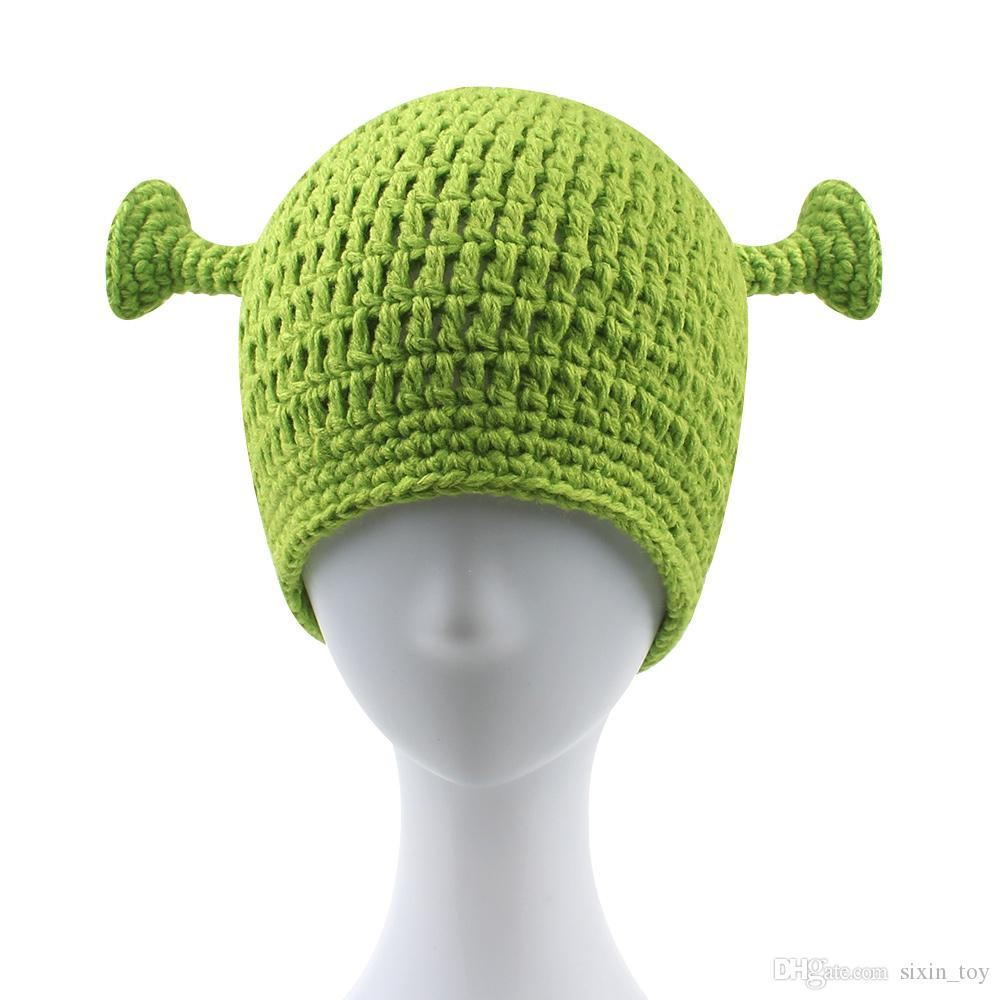 68ab97c23 Compre Monster Shrek Verde Unisex Gorro De Lana Creativo Divertido Sombrero  Hecho Punto Hecho A Mano Puro Marea Hombres Y Mujeres Adultos Ganchillo  Gorrita ...
