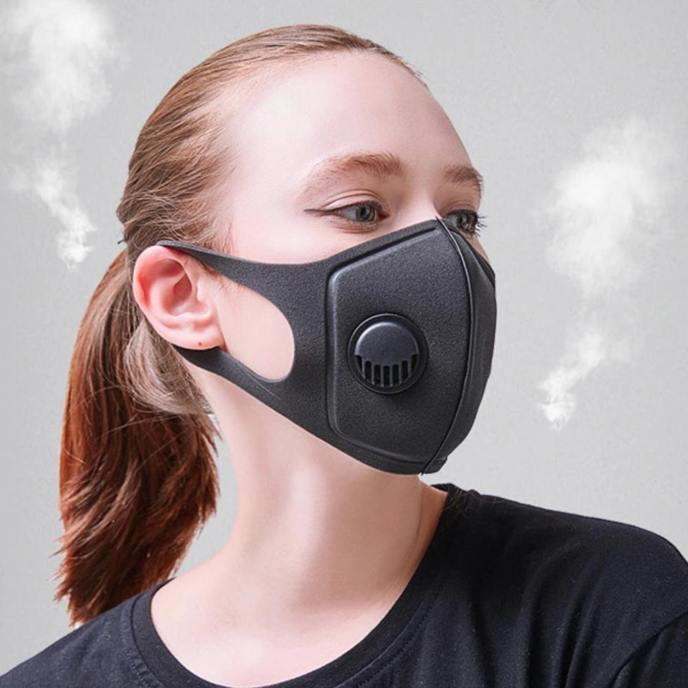 Noir Masque anti-poussière visage avec des filtres respiratoires PM2,5 Valve Masques de protection bouche coton lavable respirateurs réutilisables emballage individuel