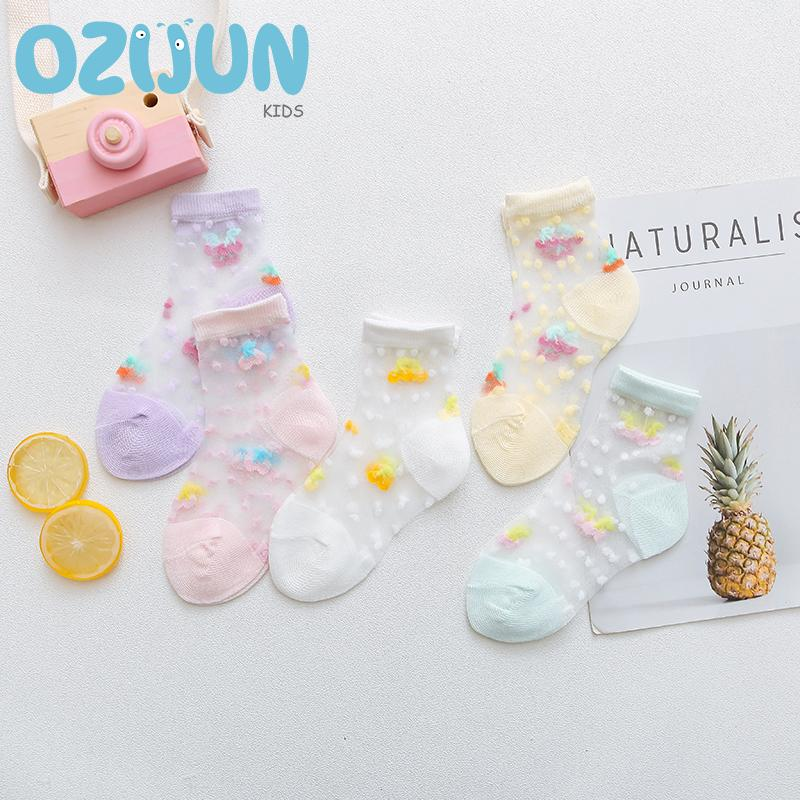 3c26667afd0d1 5 Pairs A Lot New Arrivals 2019 Summer Baby Girls Cartoon Cherry And Dot  Ultra-thin Crystal Sheer Socks 0-2 Years