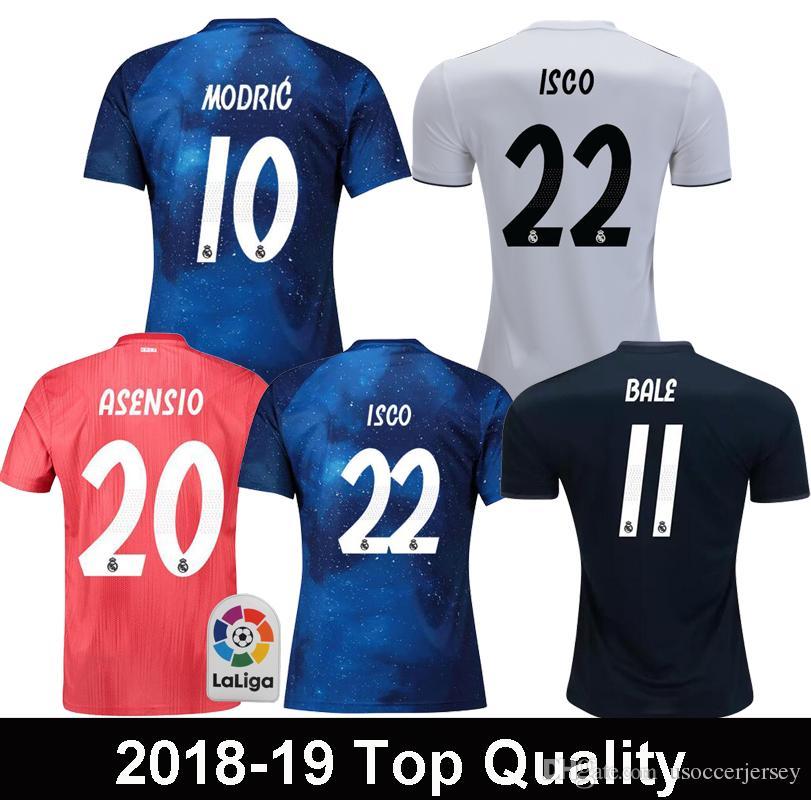 60e64a5e87708 2018 2019 Real Madrid EA Sports MODRIC ASENSIO ISCO Camisetas De Fútbol  BALE SERGIO RAMOS MARCELO Real Madrid Versión Especial Camiseta De Fútbol  Azul Por ...