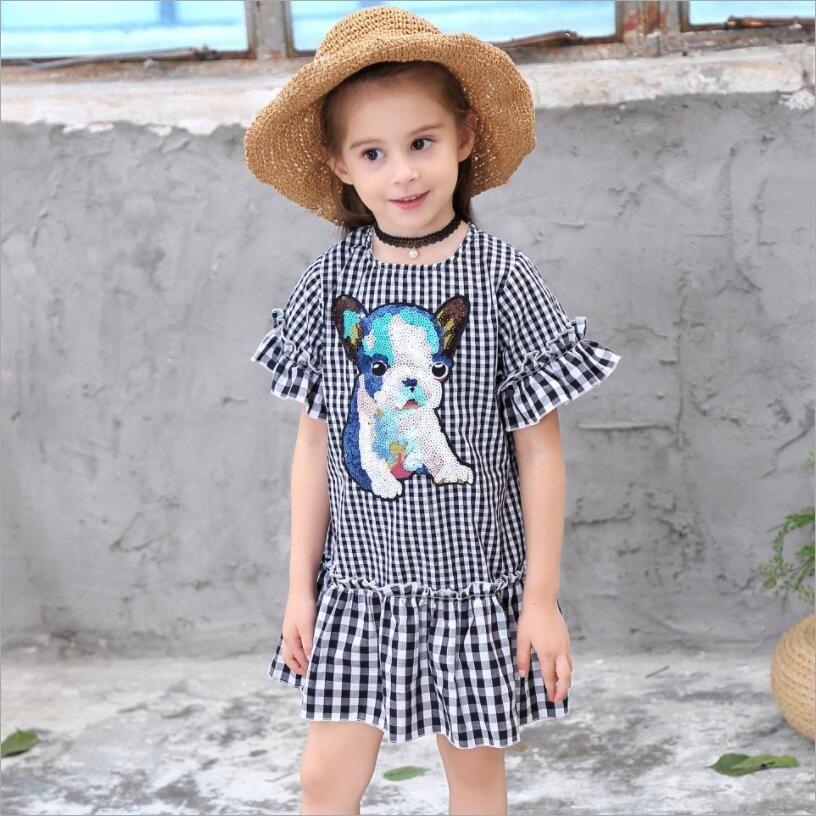 separation shoes 97d39 744c6 Vestito da ragazza stile estivo Vestito da bambino manica corta moda plaid  Vestito da bambino con paillettes per bambini