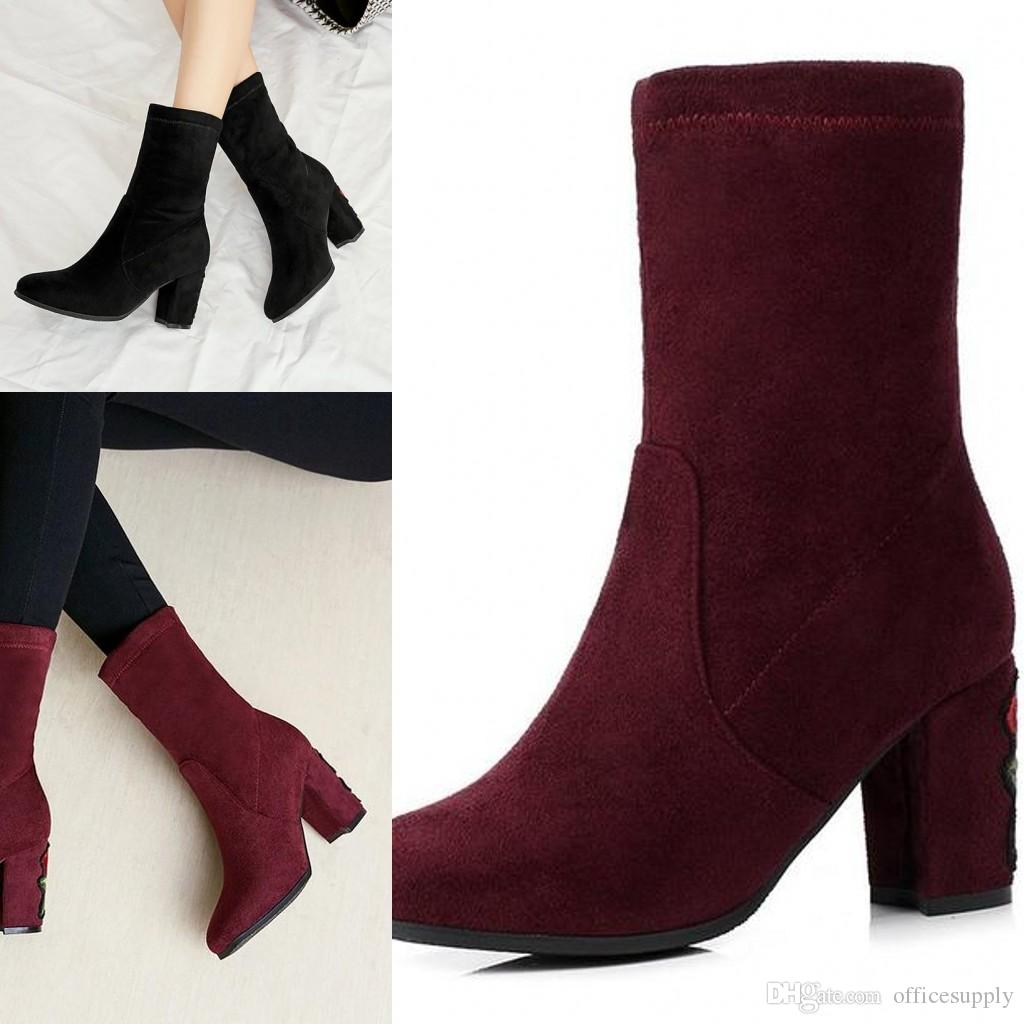 fbddc9ff655 Womens Ankle Martin Square Winter Suede Boots Chunky Heel Knight Boots Cow  Leather Motorcycle Boots Size 4-10.5
