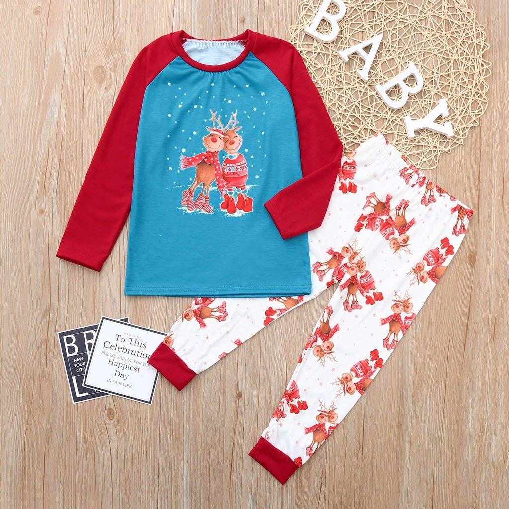 bc8875d152059 Acheter MUQGEW Ensemble De Vêtements De Noël Pyjamas Enfants Garçon Fille Père  Noël Imprimé Tops Pantalons Tenues Pantalons Famille Pyjamas Vêtements De  ...