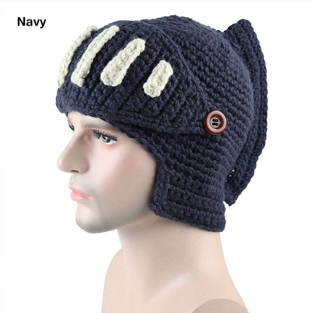 9cd19c2aafb33 2019 Winter Warm Cool Men Roman Knight Knit Hat Women Gladiator Mouth Mask  Wool Beanies Handmade Funny Ski Caps Party Christmas Gift From Booni