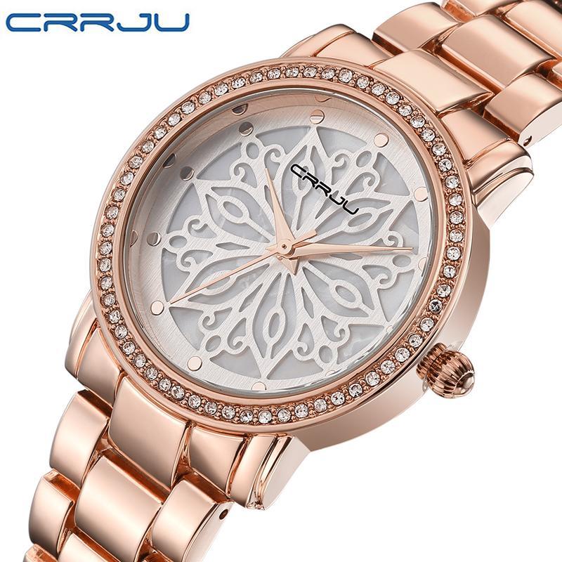 9f31c1e580c7 Compre CRRJU Vestido De Lujo Marca Moda Reloj Mujer Mujer Oro Rosa Diamante  Relogio Feminino Vestido Reloj Mujer Relojes Mujer 2018 A  17.24 Del Kebe1  ...