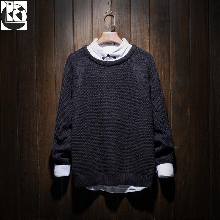 Autumn And Winter New Large Size Solid Color Pullover Men Fashion Tide Brand Twist Flower Craft Round Neck Loose Mens Sweaters
