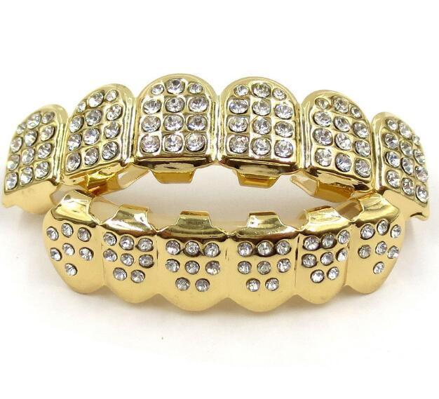Gold Grills Hip Hop Gold ICED OUT Zähne Top Silber Hiphop Schmuck Gold Teeth Grillz Strass TopBottom Grills Set Glänzende Tooth