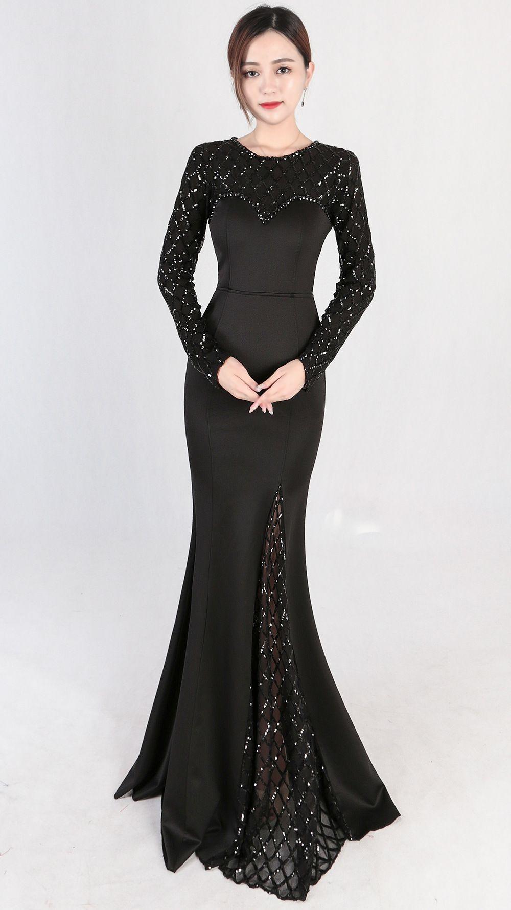 0856ed3b4258c Elegant Long Evening Dresses Black - raveitsafe