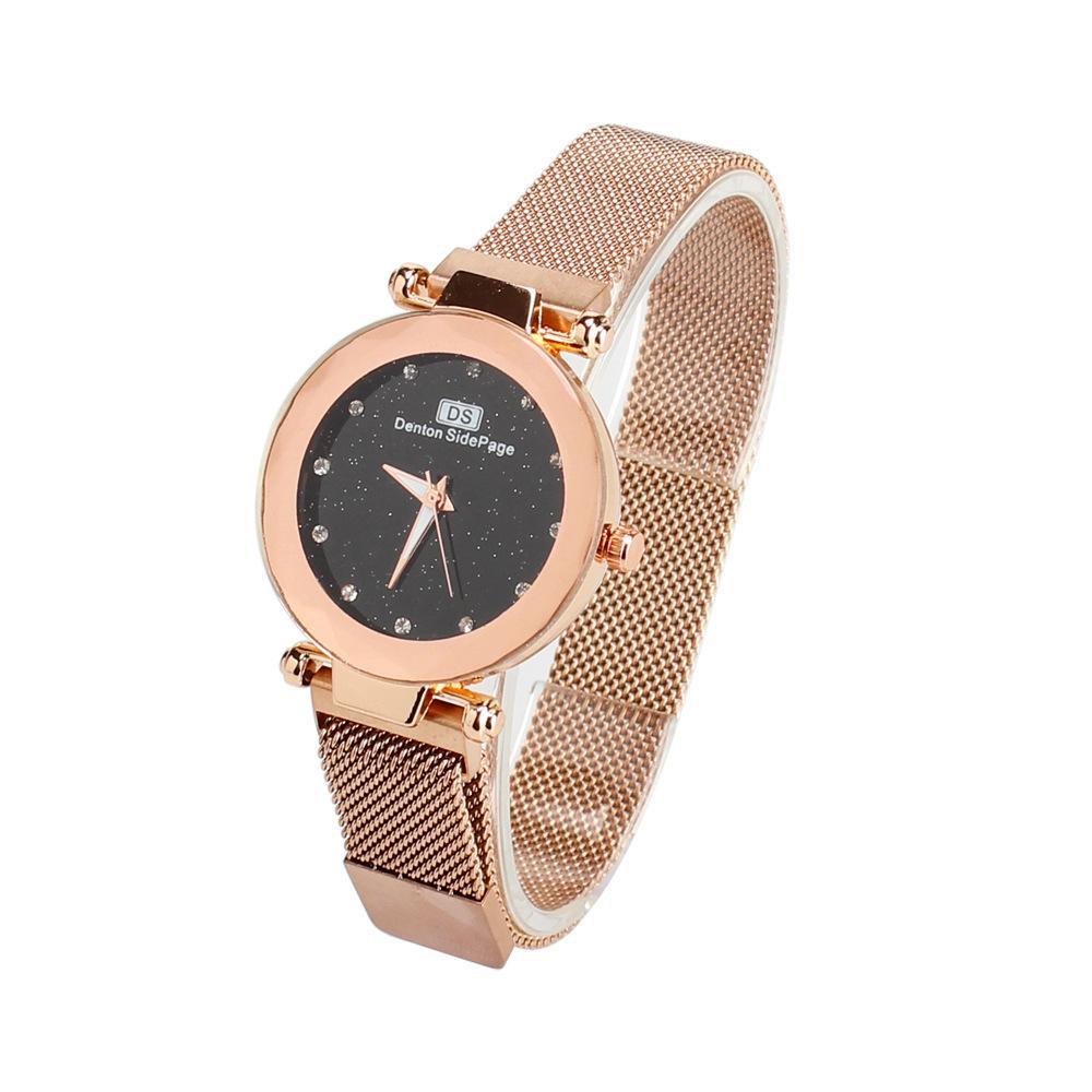 1af09afdff9 Compre Marca Moderna Mulheres Relógio De Luxo Designer De Malha De Aço  Inoxidável Relógios Senhoras Céu Estrelado Relógio De Pulso De Quartzo  Presentes De ...