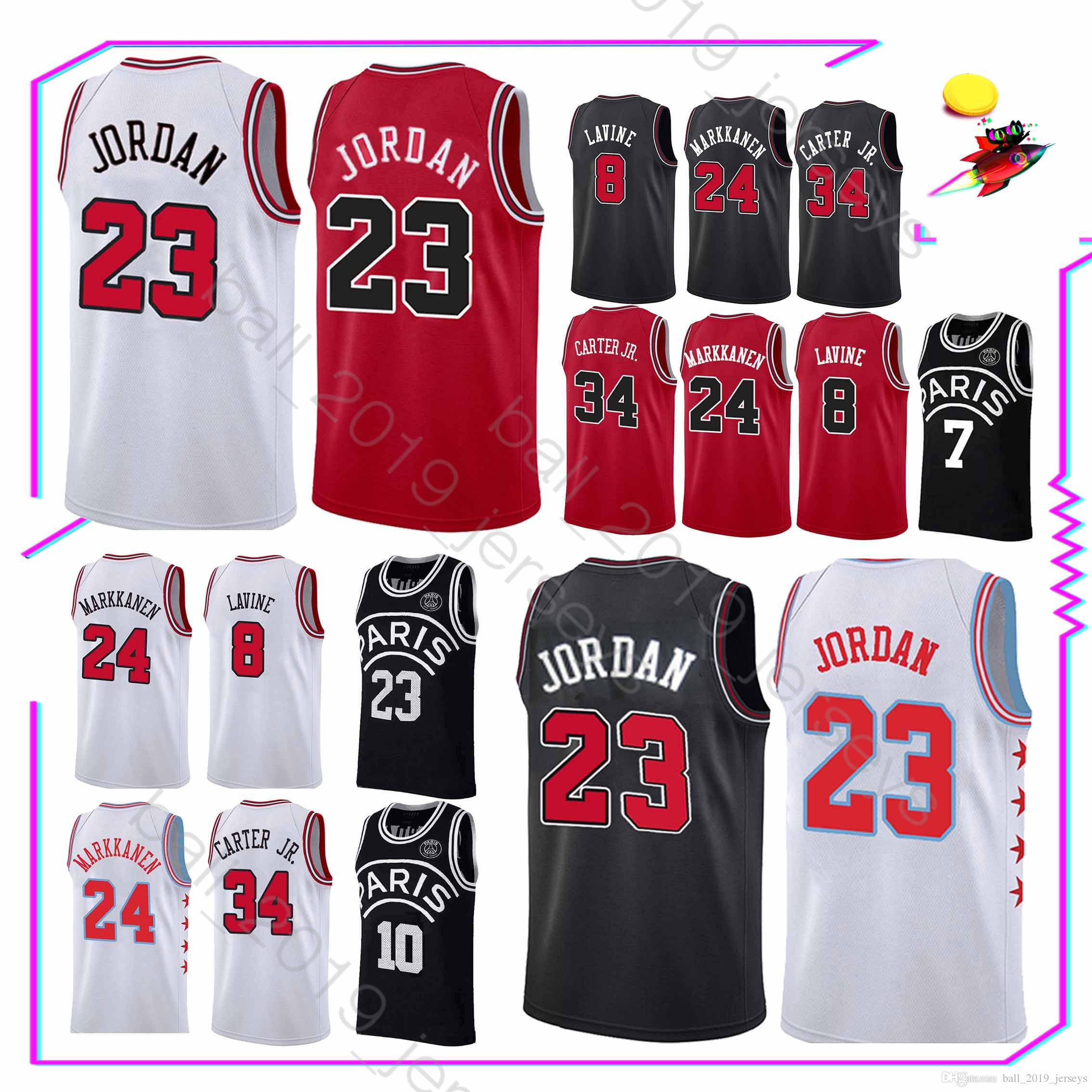best service 757e7 d039b 23 MJ jerseys Chicago jerseys Bulls 8 LaVine 24 Markkanen 34 Carter Jr  jersey Basketball Jerseys