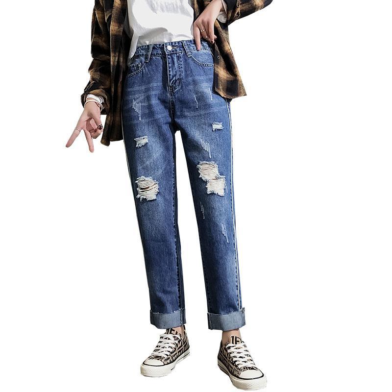 932acd20 Denim Jeans Mujer 2019 Primavera Verano Novio Elástico de Cintura Alta  Skinny Jeans Ripped Mujer Talla Extra Pantalon Jean Femme Azul