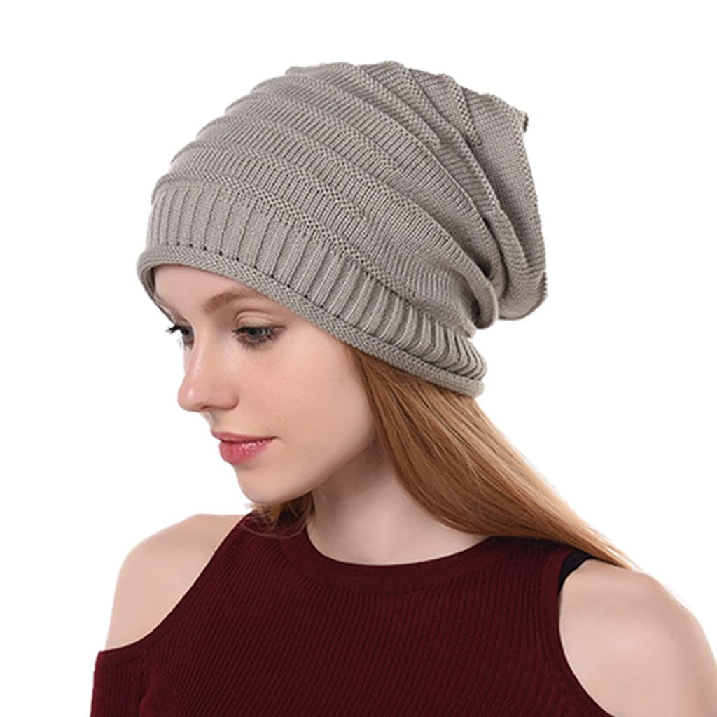 Womens Winter Knit Slouchy Beanie Baggy Warm Soft Chunky Stripe Hat Caps Womens  Knitted Cap Warm Winter Hats Chapeau Femme 10 Canada 2018 From  Enchanting11 1382b63ae7