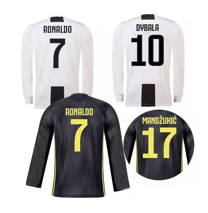 new styles 7085e 45735 New Long sleeve Juventus Home Away Third Black white gray 2018 2019 Top  Thailand soccer Jersey football shirt uniform