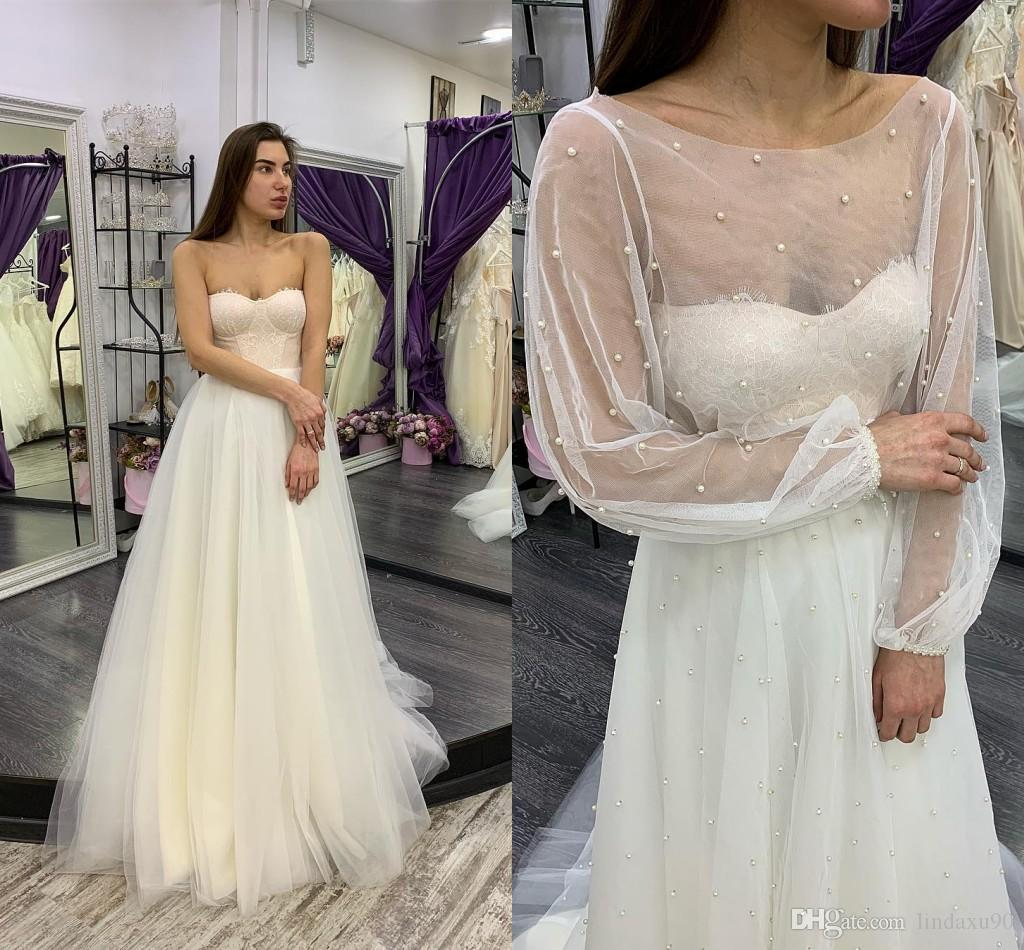 993c6b9f4a4 Discount Simple Beach 2019 Lace Wedding Dresses With Jacket Appliqued  Sweetheart Bridal Gowns A Line Boho Wedding Dress Vestidos De Novia Cheap  Plus Size ...