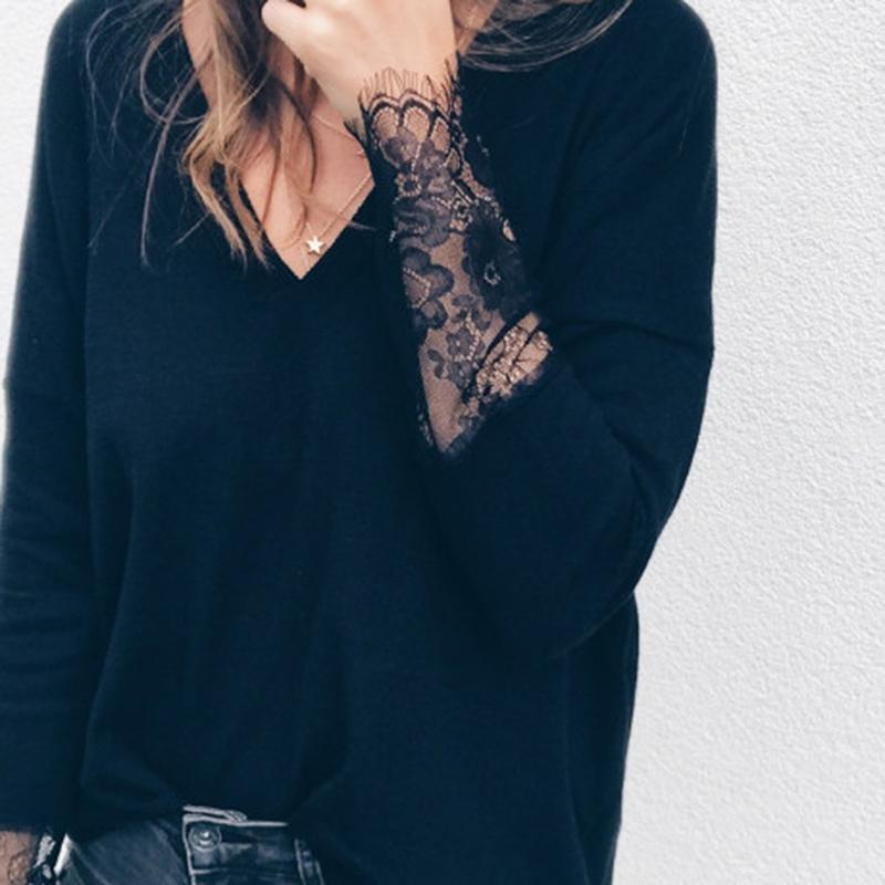 2019 Autumn 2019 Women Shirts Casual Loose Patchwork Lace Crochet Blouses  Sexy V Neck Long Sleeve Blusas Tops Plus Size From Jincaile08 37545fa0d61b