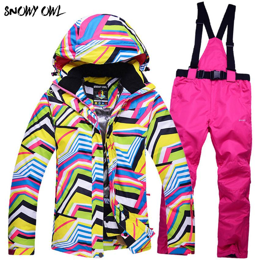 winter ski suit Set Female models outdoor waterproof Thickening Ski clothing Windproof h300