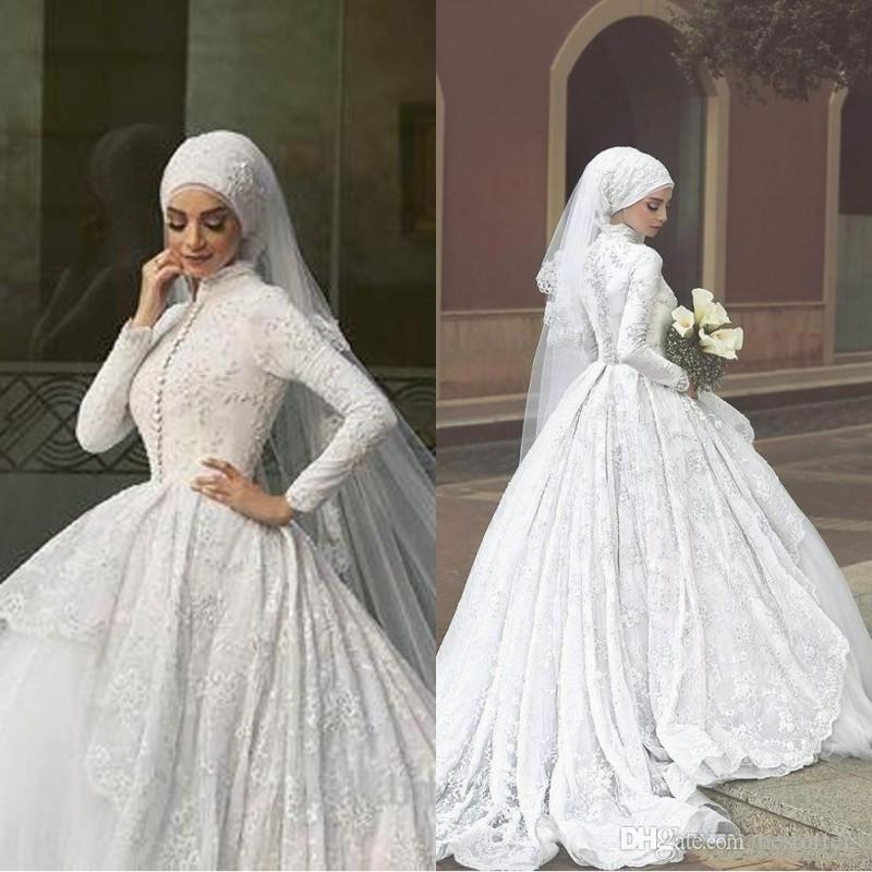 Luxury Muslim Ball Gown Wedding Dresses Long Sleeve High Neck Covered Bridal Gowns With Lace Appliques For Midwest Pakistani Abaya Ba9286