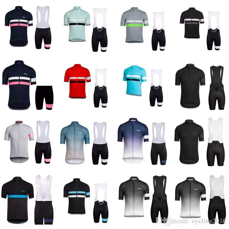 2018 Rapha Cycling Jerseys Sets Cool Bike Breathable Quick Dry Cycling Short Sleeves Shirt Bib Shorts Mens Clothing Free Shipping F0909