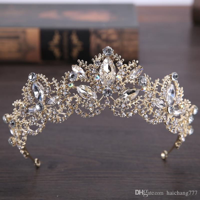 Hot-selling bridal headdress Birthday Princess headdress Baroque beautiful crown bride shallow gold crown wedding dress accessories crown ha