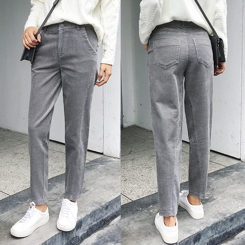 1931c4e4 2019 Women Corduroy Pants 2018 Autumn Winter Vintage Solid Casual Pleated  Office Laldy High Waist Harem Pant Women Corduroy Trousers From Seanliugao,  ...