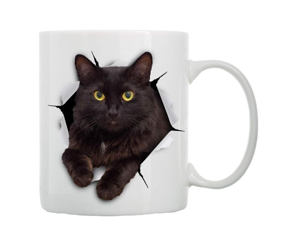 Compre Cool Funny 3d Cat Kitten Coffee Mug Taza Novedad Gato Negro