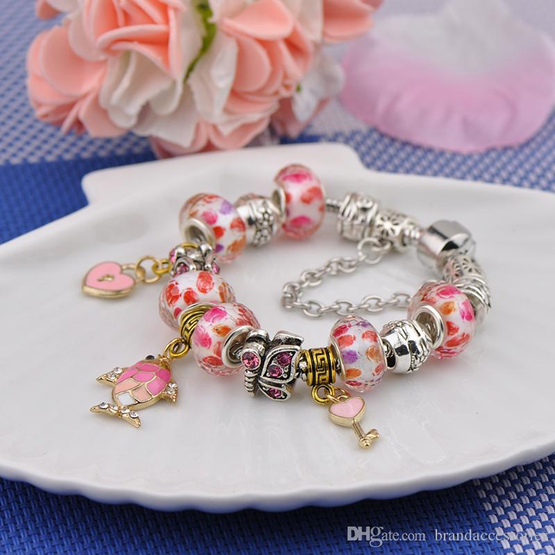 Brand Silver Plated Charm Bracelets Women Designer Rose Diamonds Crystal Beads Fish Key Pendant Fit Pandora Bangles Logo White Bag P14