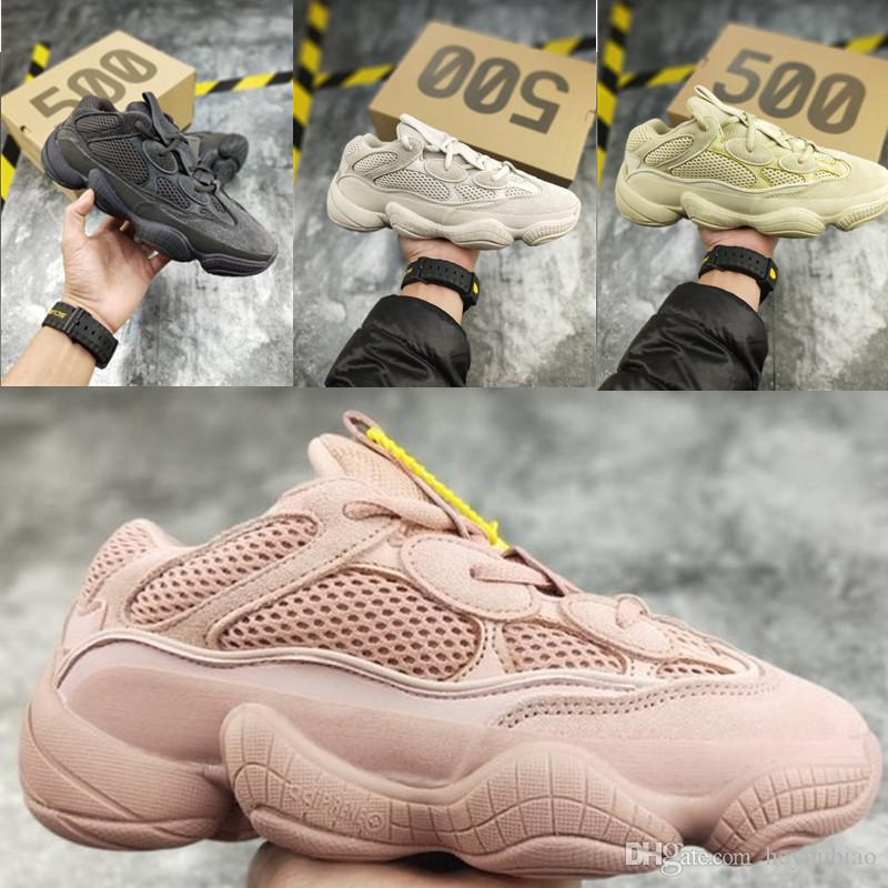pretty nice 5a030 21456 Unisex 500 Kanye west Blush Mens Running Shoes Salt Utility Black Womens  Sneakers pink Desert Rat SuperMoon Yellow Trainers