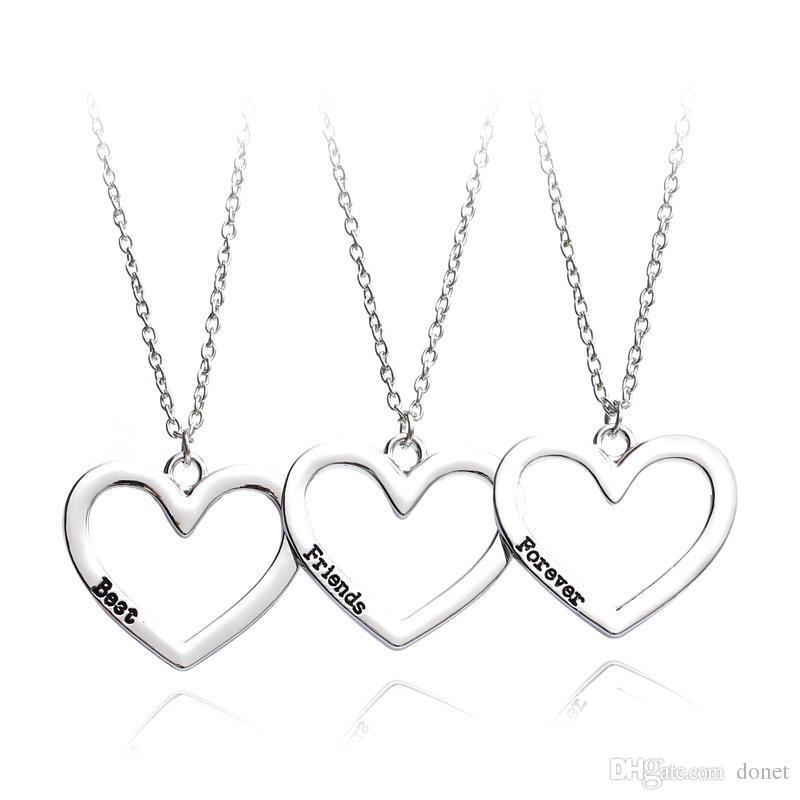 7ac4569b8878 Compre Moda 3 Unidades Conjunto Corazón Collar Colgante Roto Tres Mejores  Amigas Siempre Collar Joyas Collares Niños Y Niñas A  1.16 Del Donet