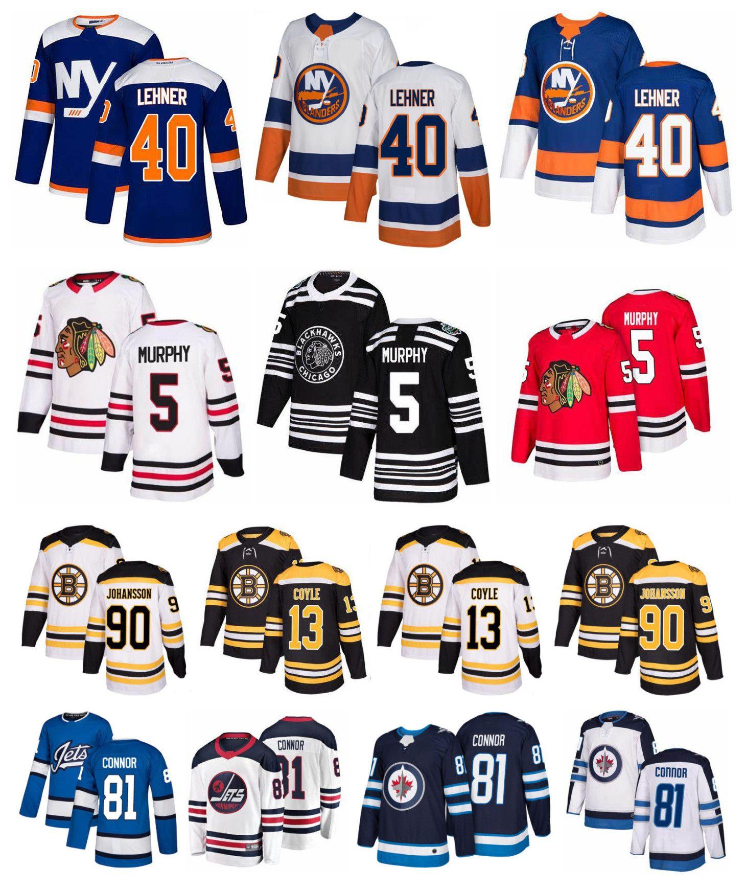 pretty nice 0d02c bd050 New York Islanders Robin Lehner Jersey Boston Bruins Charlie Coyle Marcus  Johansson Chicago Blackhawks 5 Connor Murphy Jets 81 Kyle Connor