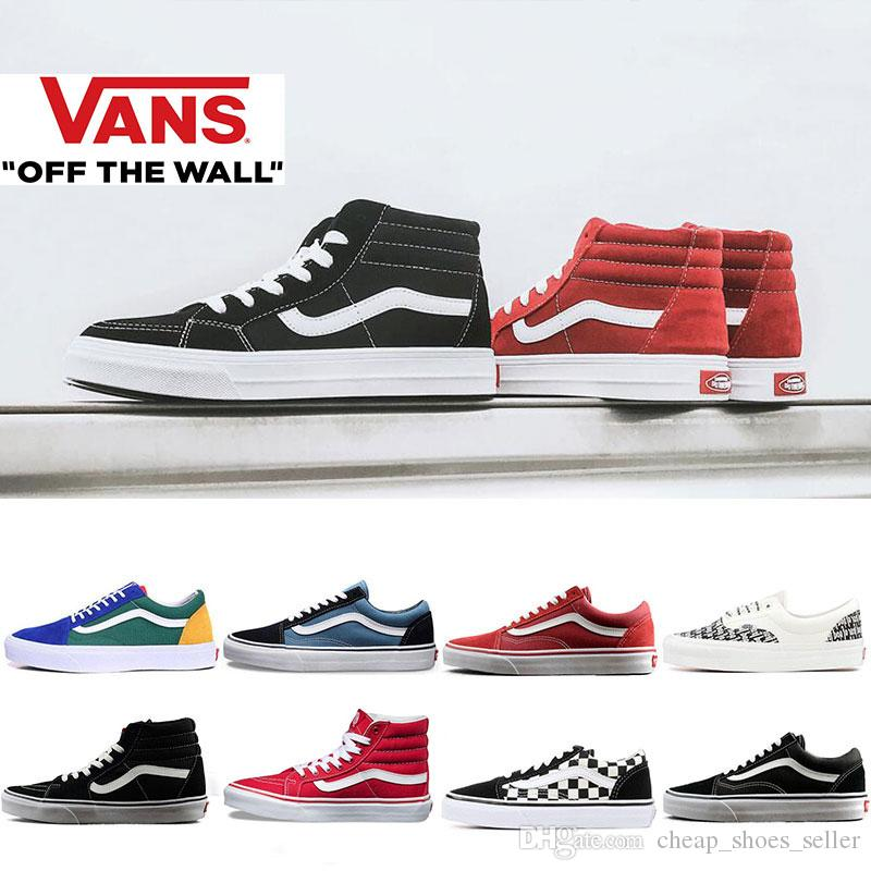 Vans Sneakers For Men Women Nuevo 2019 Vans Old Skool Sk8 Hi Mens Para  Mujer Zapatillas De Lona Negro Blanco Rojo YACHT CLUB MARSHMALLOW Moda  Skate Zapatos ... 87dc400f6b8