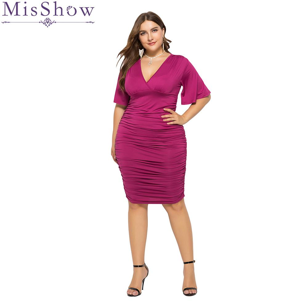4d6516d01f Purple Short Sleeve Plus Size Elegant Womens Bodycon Dresses Sexy Stretchy  Solid Slim Pencil Dress Party Midi Dress 2019 Vestido