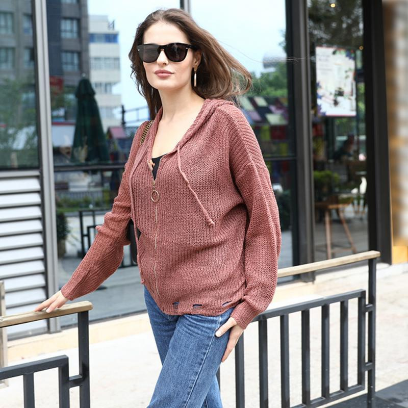 Loose Casual Women Cardigan Zipper Mesh Long Sleeve Autumn Shopping Knitting Daily Outwear Solid Travel Hooded