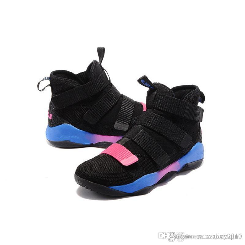 san francisco 4ae04 3ce71 Lebron soldier 11 XI shoes mens basketball for sale Christmas BHM Oreo  youth kids sneakers boots with original box Size 7 12
