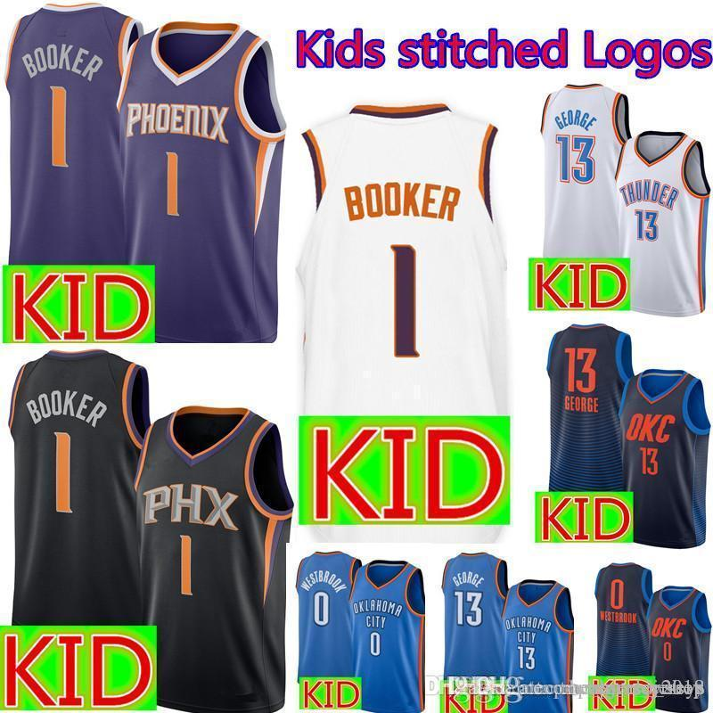 newest collection 03394 8c3ae Kids 1 Devin # Booker Jersey Phoenix Youth Suns Basketball Jerseys Cheap  sales Black White Purple Embroidery Logos