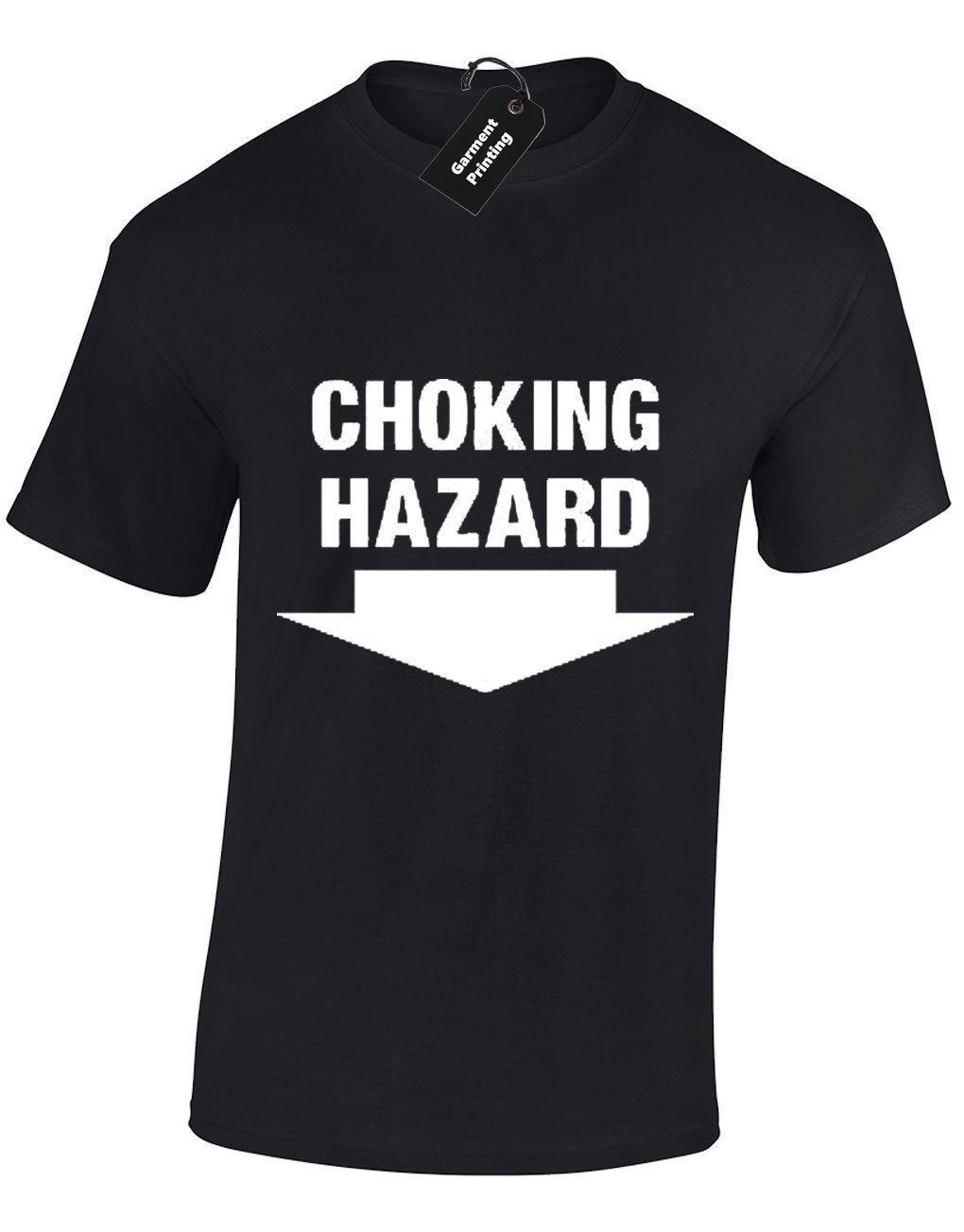 CHOKING HAZARD MENS T SHIRT RUDE FUNNY ADULT STAG PARTY HUMOUROUS
