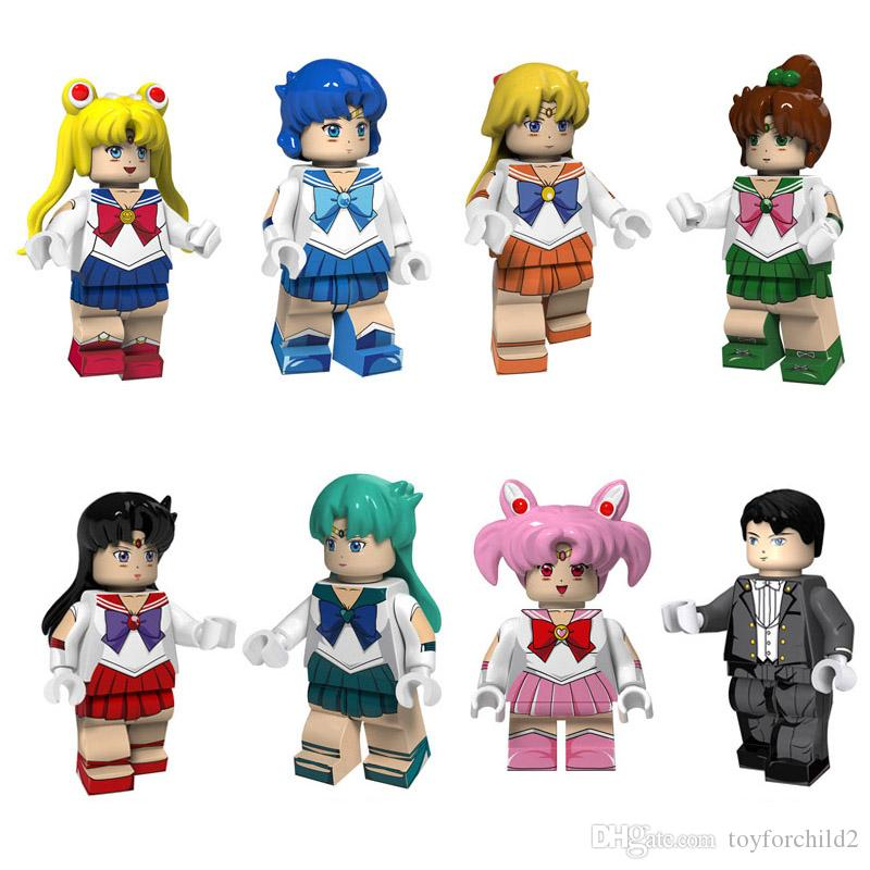 8 pcs Janpan Anime Sailor Moon Mars Jupiter Venus Mercury Chibi Chibi Neptune Chiba Mamoru Tuxedo Mask Mini Action Figure Building Block Toy