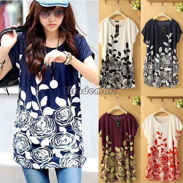 903cb08eac0 New Summer Women Batwing Sleeve Chiffon Blouse Floral Printed Shirts Plus  Size Tops For Women Online with  14.5 Piece on Bamdan s Store