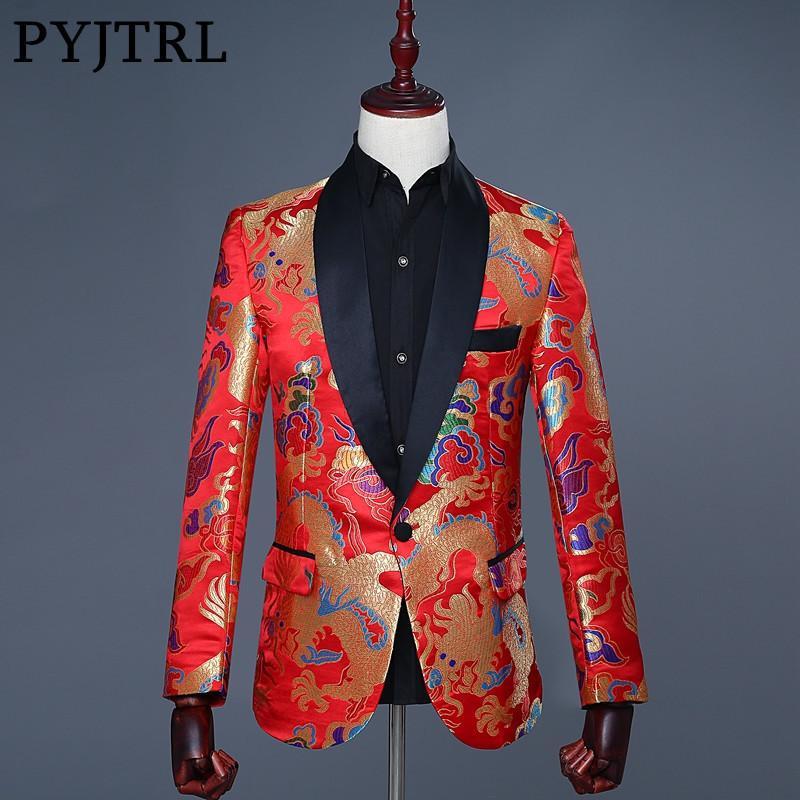 ade5787c3 Compre PYJTRL 2018 Para Hombre Estilo Chino Bordado Jacquard Rojo Dragón  Patrón Blazer Masculino Slim Fit Diseño Boda Novio Traje Chaqueta A  61.84  Del ...