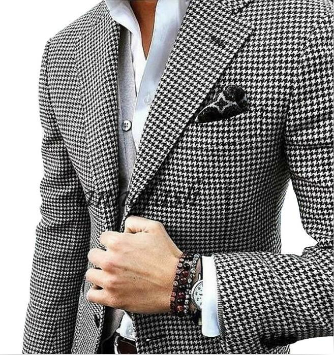 Custom made woolen houndstooth blazer Casual suit wedding suit houndstooth jacket+black woolen pants+vest Y191115