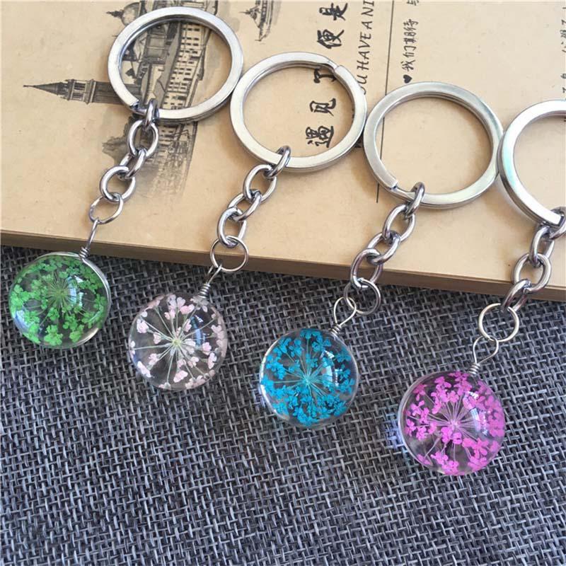 New Fashion Key Chain Handmade Natural Dried Flower Key Ring Cute