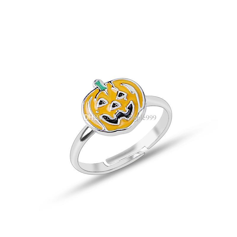 New Halloween Jewelry Rings Pumpkin Rings Women Fashion Open Adjustable Rings Halloween Costumes Props Free Shipping