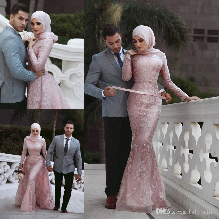Vintage Long Sleeves Pink Mermaid Wedding Dresses Arabic Dubai Muslim Bridal Gowns With Detachable Train Appliques Sequins Wedding Gowns