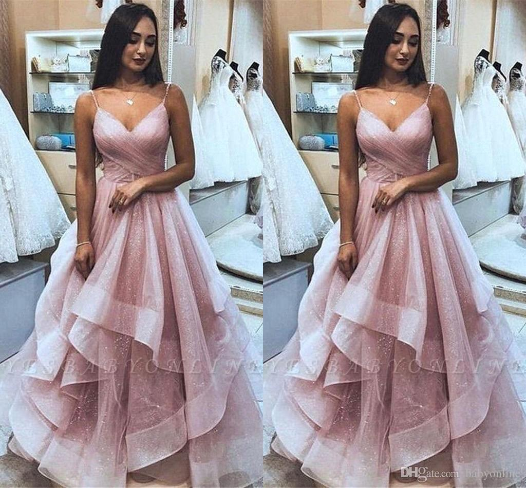 Glitz Pink Sequins Tulle Ruffles Prom Dresses 2020 Spahgetti Strap A Line Evening Gowns Long Formal Party Pageant Dress BC2564