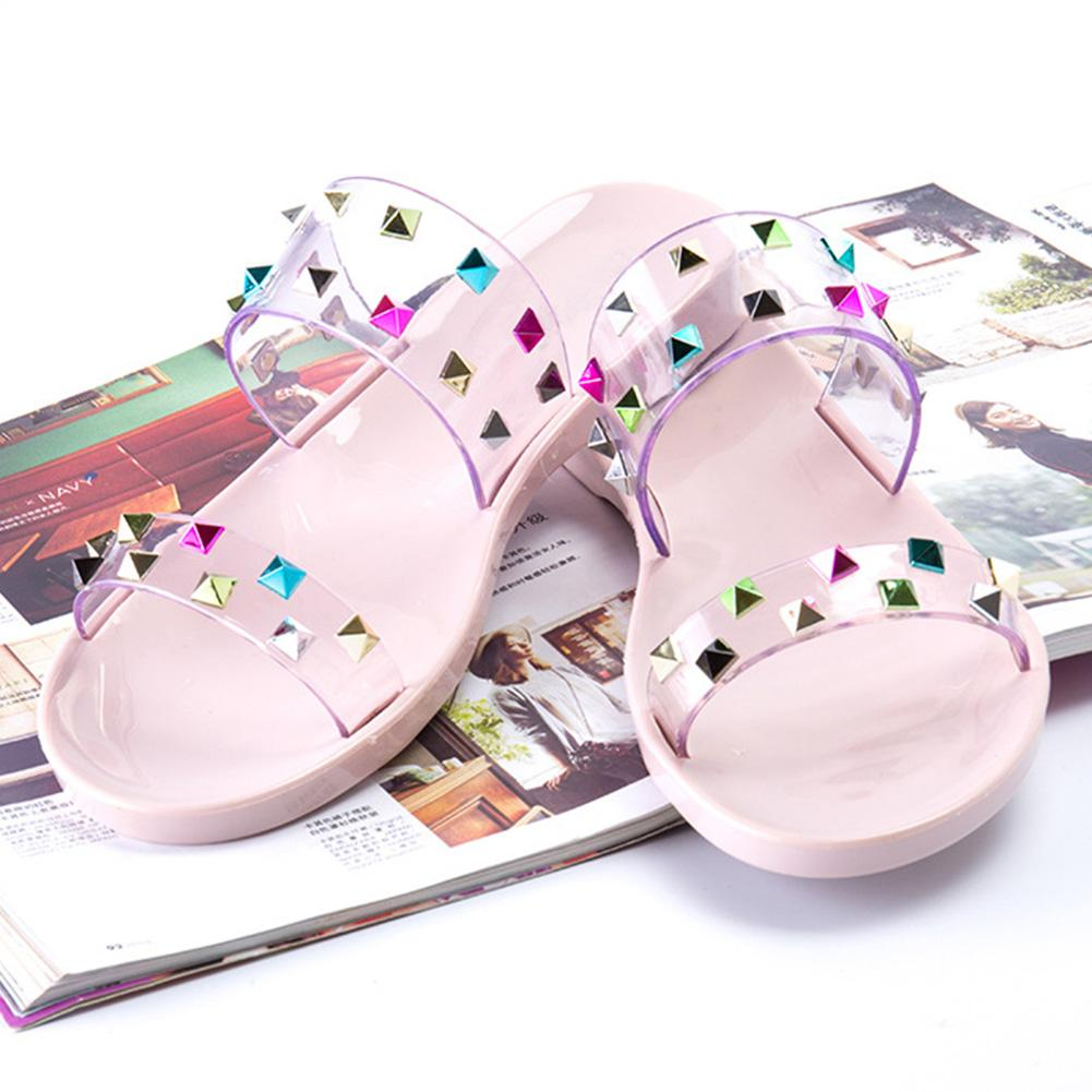 ce661eaf691c Women Summer Jelly Flat Sandals Rhinestone Crystal Shiny Casual Fashion  Female Beach Shopping Flip Flops Girls Ladies Ladies Shoes Red Shoes From  Taylorst